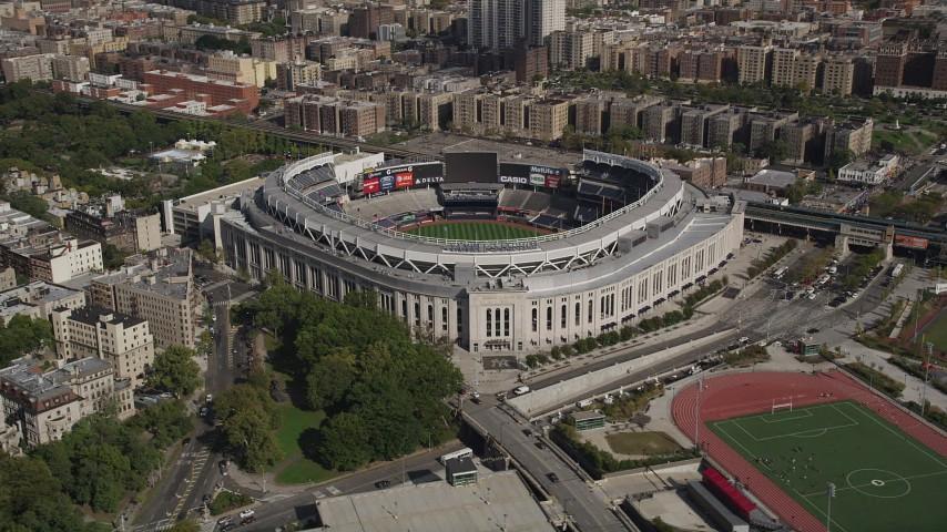 4K stock footage aerial video of circling Yankee Stadium, Bronx, New York Aerial Stock Footage | AX87_178