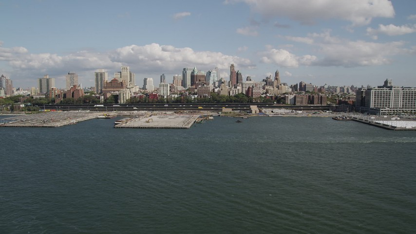 4K stock footage aerial video of approaching piers and skyscrapers in Brooklyn, New York Aerial Stock Footage | AX88_001