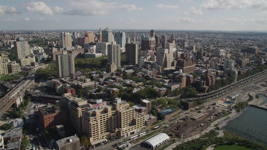 4K stock footage aerial video of flying by skyscrapers, seen from Brooklyn Bridge, Brooklyn, New York Aerial Stock Footage | AX88_004