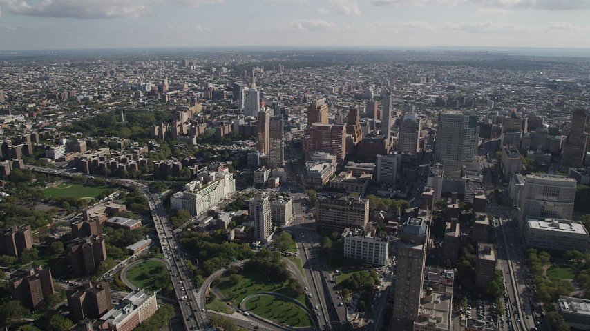 4K stock footage aerial video of approaching Brooklyn skyscrapers, New York Aerial Stock Footage   AX88_007