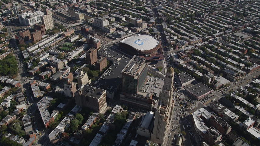 4K stock footage aerial video fly over Williamsburgh Savings Bank Tower office building near Barclays Center arena, Brooklyn, New York Aerial Stock Footage | AX88_013