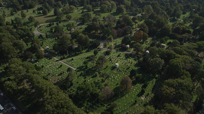4K stock footage aerial video of grave markers at Green-Wood Cemetery in Brooklyn, New York Aerial Stock Footage | AX88_023