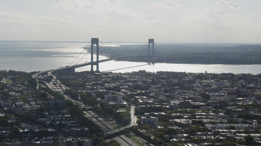 4K stock footage aerial video of a view of the Verrazano-Narrows Bridge, Brooklyn, New York Aerial Stock Footage | AX88_031