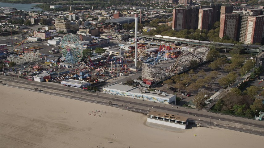 4K stock footage aerial video of flying by rides at Luna Park in Coney Island, Brooklyn, New York City, New York Aerial Stock Footage | AX88_046