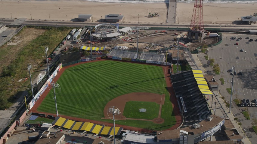 4K stock footage aerial video of approaching baseball field at Luna Park, Coney Island, Brooklyn, New York Aerial Stock Footage | AX88_060