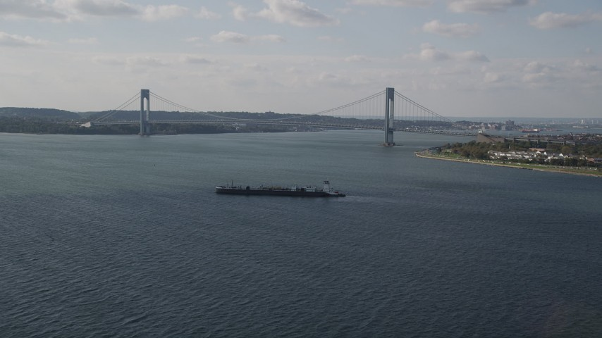 4K stock footage aerial video of the Verrazano-Narrows Bridge spanning The Narrows, New York Aerial Stock Footage | AX88_075