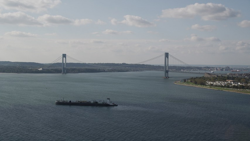 4K stock footage aerial video of the Verrazano-Narrows Bridge spanning The Narrows, New York, New York Aerial Stock Footage | AX88_076