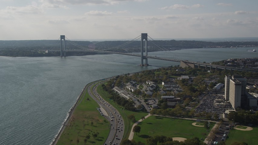 4K stock footage aerial video of the Verrazano-Narrows Bridge and The Narrows, seen from Brooklyn, New York Aerial Stock Footage | AX88_078