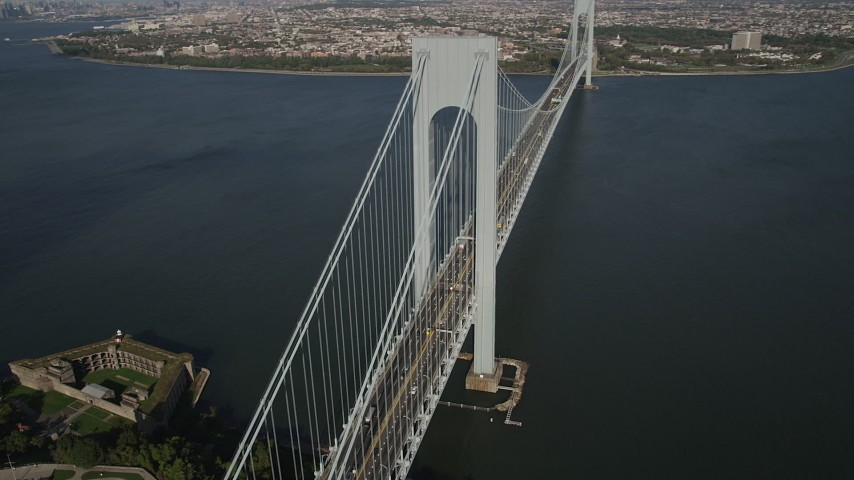 4K stock footage aerial video of Verrazano-Narrows Bridge, seen from Staten Island, New York, New York Aerial Stock Footage AX88_084 | Axiom Images