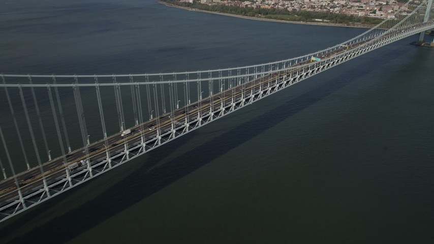 4K stock footage aerial video pan across the Verrazano-Narrows Bridge, The Narrows, New York, New York Aerial Stock Footage | AX88_085