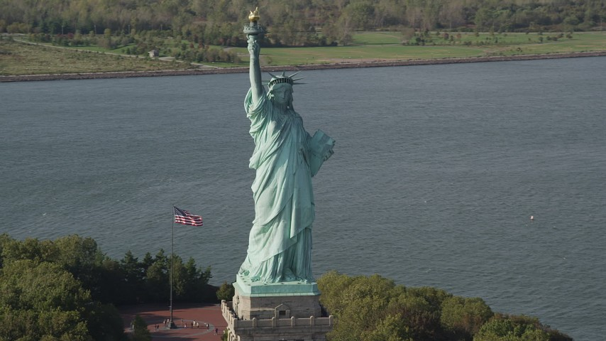 4K stock footage aerial video of the front side of the Statue of Liberty, New York, New York Aerial Stock Footage | AX88_108