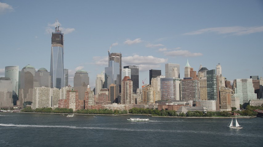 4K stock footage aerial video of approaching Lower Manhattan skyscrapers, New York, New York Aerial Stock Footage | AX88_115