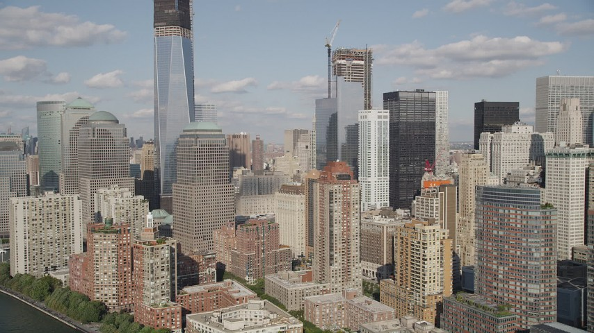 4K stock footage aerial video of World Trade Center buildings, Lower Manhattan, New York, New York Aerial Stock Footage | AX88_116