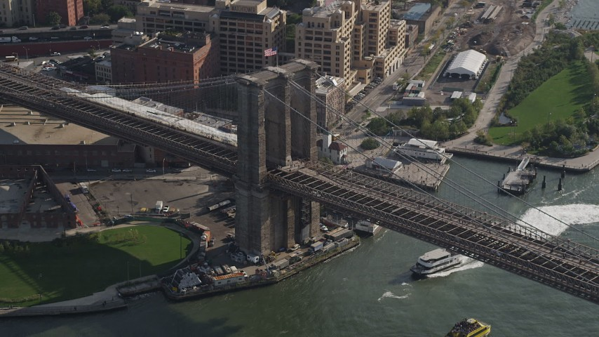 4K stock footage aerial video of the world famous Brooklyn Bridge, New York, New York Aerial Stock Footage | AX88_123