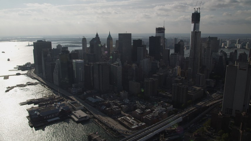 4K stock footage aerial video of approaching Lower Manhattan's downtown skyscrapers, New York, New York Aerial Stock Footage | AX88_127