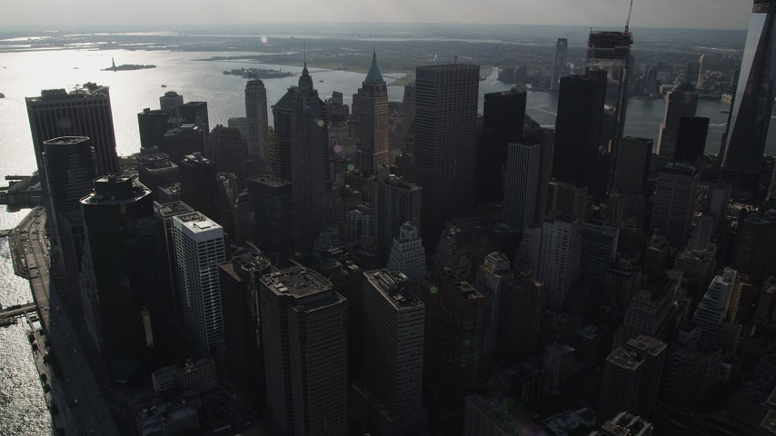 4K stock footage aerial video of a view of Lower Manhattan's downtown skyscrapers, New York, New York Aerial Stock Footage | AX88_128