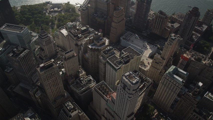 Flying over Lower Manhattan skyscrapers, Hudson River, New York, New York Aerial Stock Footage   AX88_131