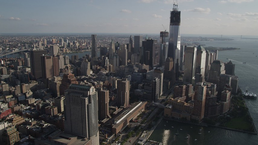 4K stock footage aerial video flyby Freedom Tower and World Trade Center skyscrapers, Lower Manhattan, New York Aerial Stock Footage | AX88_136
