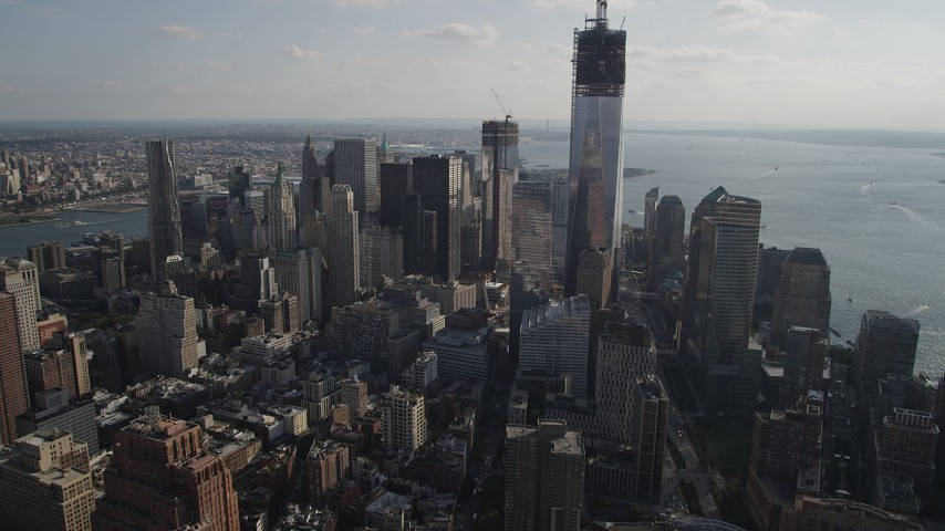 5K aerial video of approaching Freedom Tower and Lower Manhattan skyscrapers, New York, New York Aerial Stock Footage | AX88_137