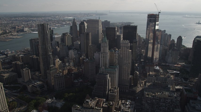 Flying by Woolworth Building, 8 Spruce Street, Lower Manhattan, New York Aerial Stock Footage | AX88_139
