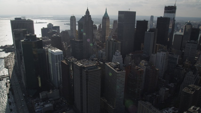 4K stock footage aerial video of downtown skyscrapers in Lower Manhattan, New York, New York Aerial Stock Footage | AX88_141