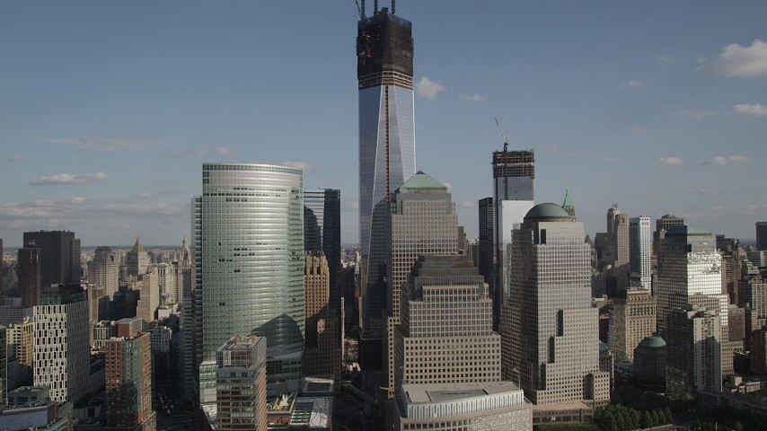 4K stock footage aerial video of a view of World Trade Center skyscrapers and Freedom Tower, Lower Manhattan, New York Aerial Stock Footage | AX88_152