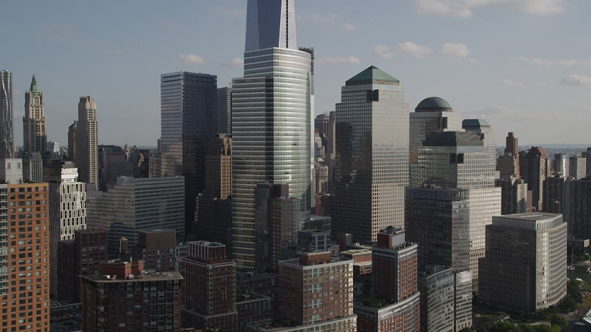 4K stock footage aerial video of flying away from World Trade Center skyscrapers in Lower Manhattan, New York Aerial Stock Footage | AX88_153