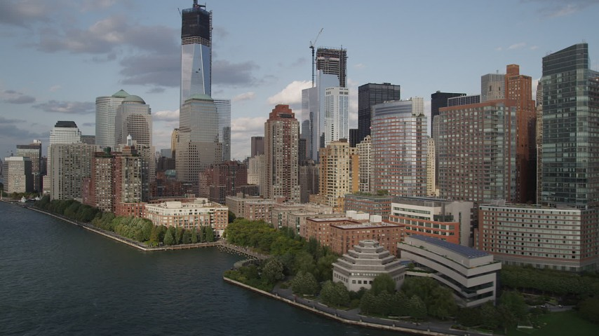4K aerial stock footage video of Freedom Tower and World Trade Center skyscrapers, Lower Manhattan, New York Aerial Stock Footage | AX88_165
