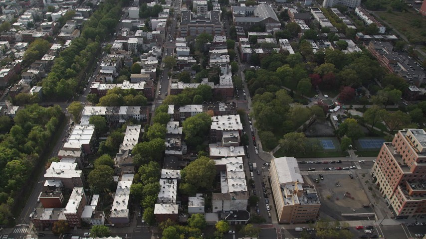 5K aerial video of flying over row houses by Hamilton Park, Jersey City, New Jersey Aerial Stock Footage | AX88_170