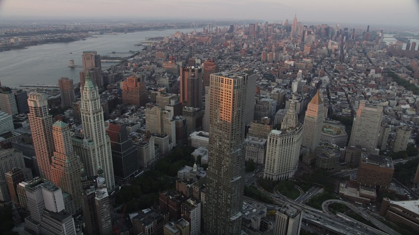 4K stock footage aerial video Flying by Lower Manhattan,8 Spruce Street, New York, New York, sunset Aerial Stock Footage   AX89_007