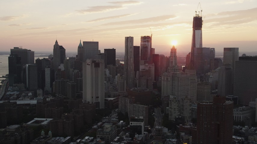 4K stock footage aerial video Flying by Lower Manhattan skyline, New York, New York, sunset Aerial Stock Footage | AX89_014