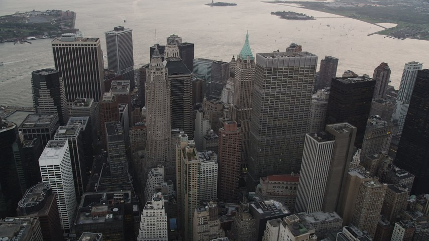 4K stock footage aerial video Flying by Lower Manhattan skyscrapers, New York, New York, twilight Aerial Stock Footage | AX89_031