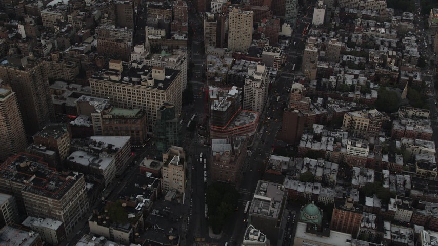 4K stock footage aerial video of East Village, Midtown Manhattan, Empire State Building, New York, twilight Aerial Stock Footage | AX89_039