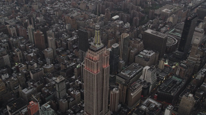 4K stock footage aerial video Approaching Empire State Building, Midtown Manhattan, New York, twilight Aerial Stock Footage | AX89_049