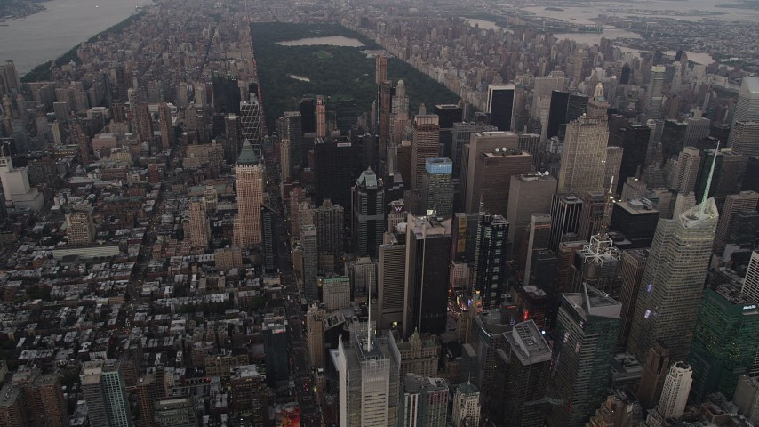 4K stock footage aerial video Approaching skyscrapers, Midtown Manhattan, New York, New York, twilight Aerial Stock Footage | AX89_053