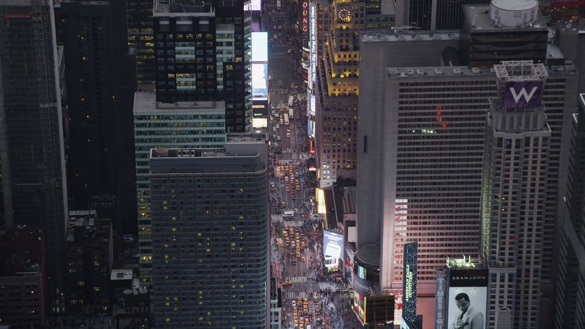 4K stock footage aerial video Approaching Times Square, Midtown Manhattan, New York, New York, twilight Aerial Stock Footage | AX89_073