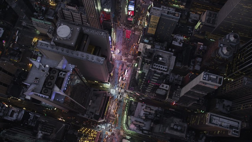 4K stock footage aerial video Bird's eye view over Times Square, Midtown Manhattan, New York, twilight Aerial Stock Footage | AX89_085