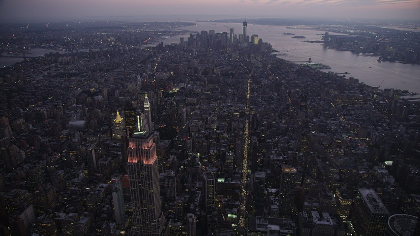 4K stock footage aerial video Approaching Lower Manhattan, New York, New York, twilight Aerial Stock Footage | AX89_097