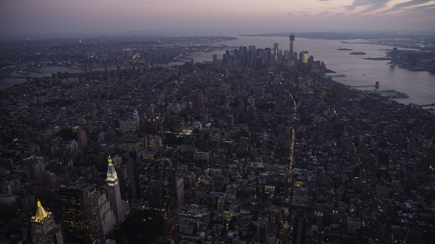 4K stock footage aerial video Approaching Lower Manhattan, New York, New York, twilight Aerial Stock Footage | AX89_098