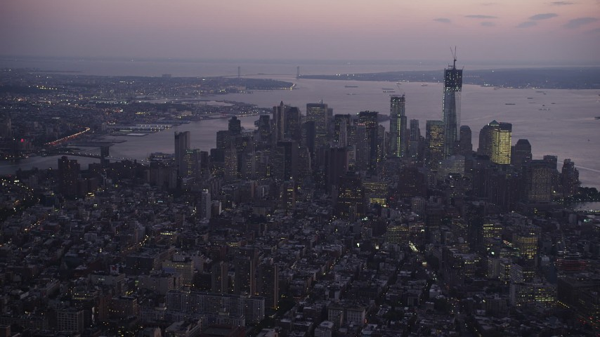 4K stock footage aerial video Approaching Lower Manhattan, New York, New York, twilight Aerial Stock Footage | AX89_099