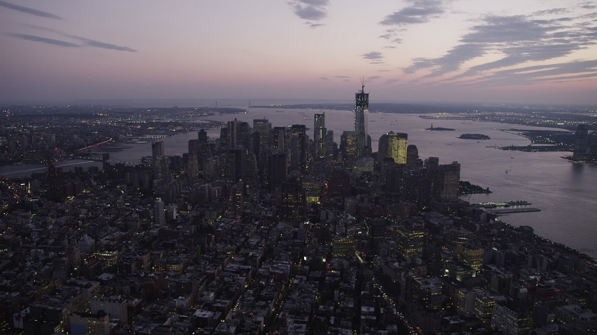 5k aerial video Approaching Lower Manhattan, New York, New York, twilight Aerial Stock Footage | AX89_101
