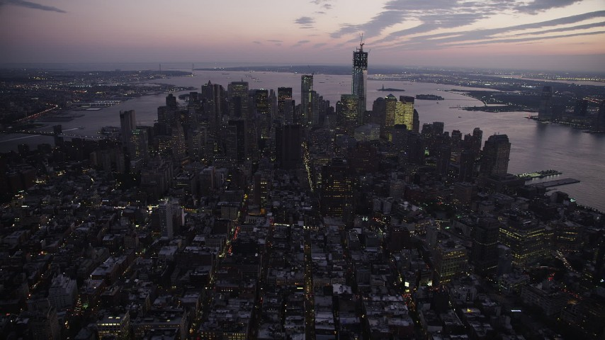 4K stock footage aerial video Flying by Lower Manhattan, New York, New York, twilight Aerial Stock Footage | AX89_102