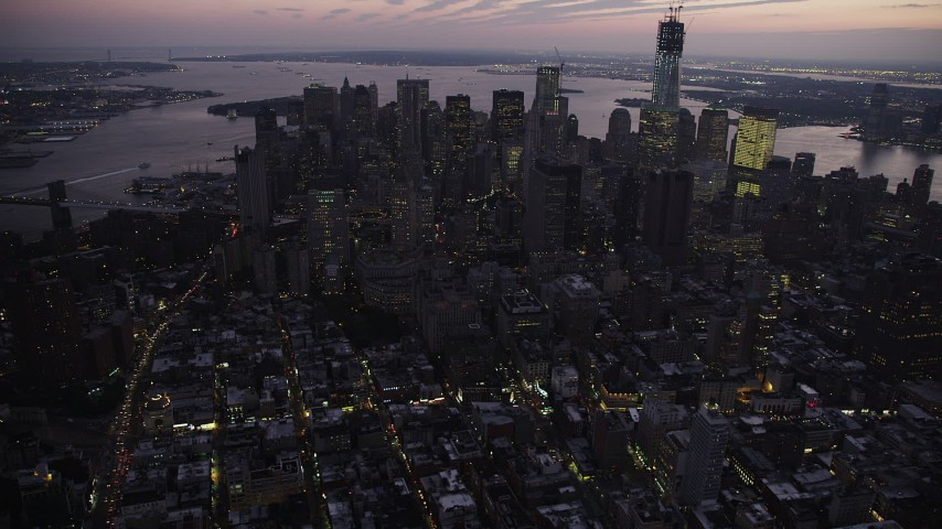 4K stock footage aerial video Flying by Lower Manhattan, New York, New York, twilight Aerial Stock Footage | AX89_103