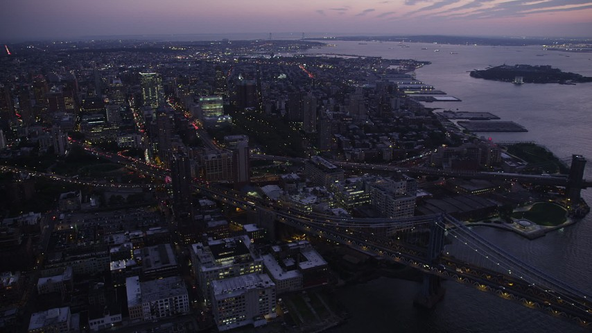 4K stock footage aerial video Tilting down on Manhattan Bridge, Brooklyn, New York, New York, twilight Aerial Stock Footage | AX89_107
