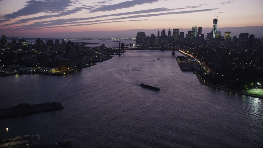 4K stock footage aerial video Flying by Lower Manhattan, Manhattan Bridge, East River, New York, twilight Aerial Stock Footage | AX89_119