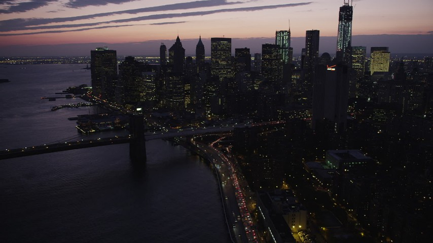 4K stock footage aerial video Approaching Lower Manhattan skyline, New York, New York, twilight Aerial Stock Footage | AX89_123