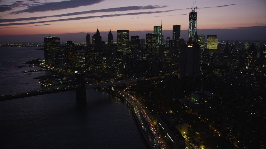 4K stock footage aerial video Approaching Lower Manhattan, New York, New York, twilight Aerial Stock Footage | AX89_129