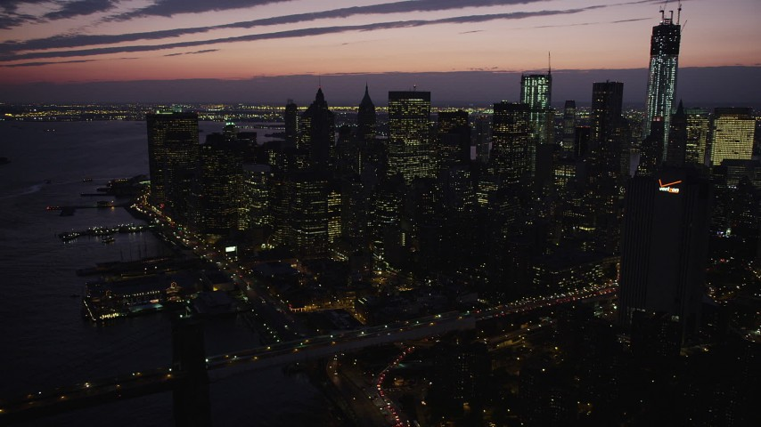 4K stock footage aerial video Approaching Lower Manhattan, New York, New York, twilight Aerial Stock Footage | AX89_130