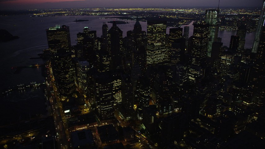 4K stock footage aerial video Approaching Lower Manhattan, New York, New York, twilight Aerial Stock Footage | AX89_132