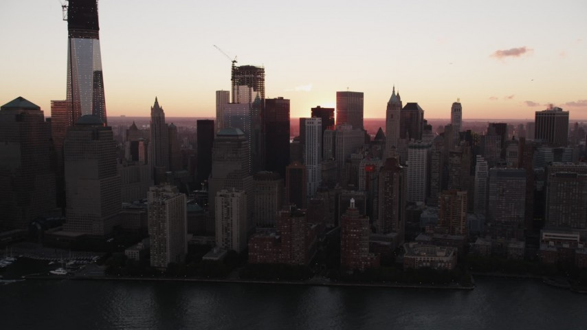 4K stock footage aerial video Flying by Lower Manhattan, New York, New York, sunrise Aerial Stock Footage | AX90_005